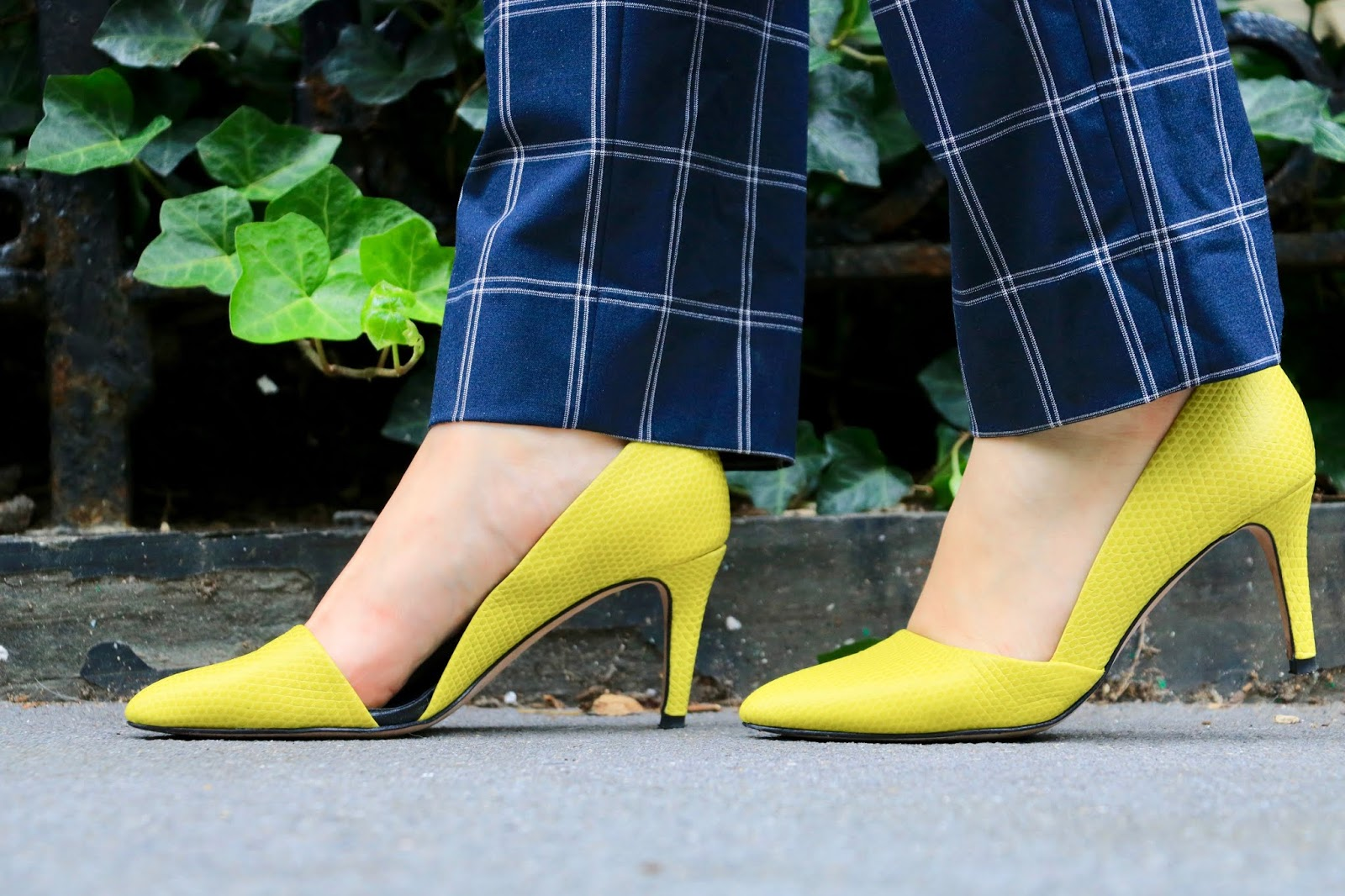 Nyc fashion blogger Kathleen Harper's yellow Rebecca Minkoff pumps