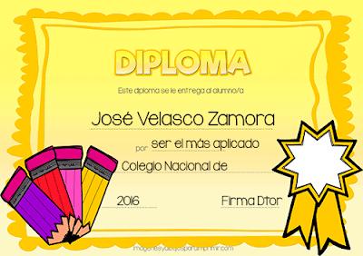 Diplomas para personalizar las cualidades del alumno