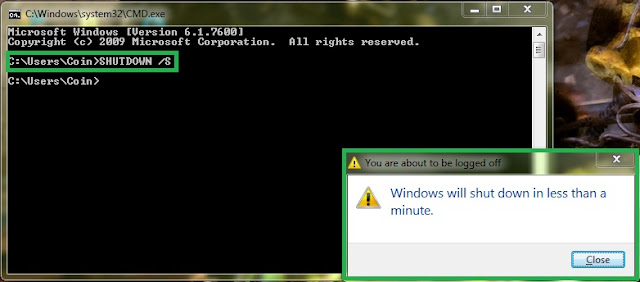 Shutdown /s commands to shutdown pc using command prompt