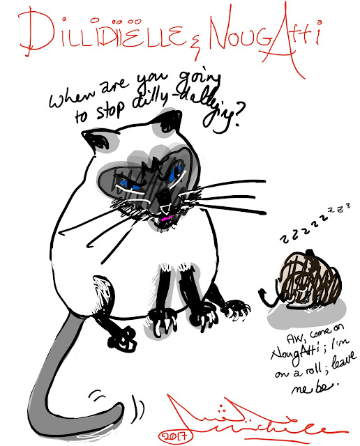 Cartoon of a cat and a pill bug