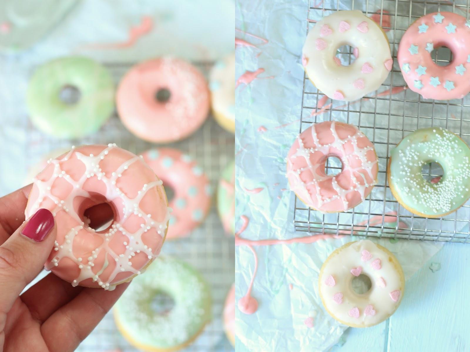 Miss Blueberrymuffin\'s kitchen: Pastell-Traum: Gebackene Vanille-Donuts
