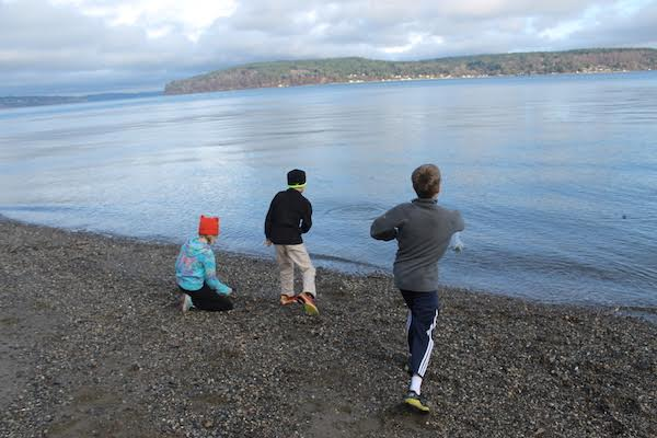 Skipping stones at Owen Beach in Tacoma, Washington.