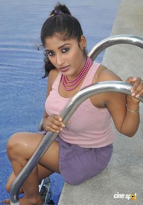 Sowmya Krishnan Hot Pose In Sweeming Pol