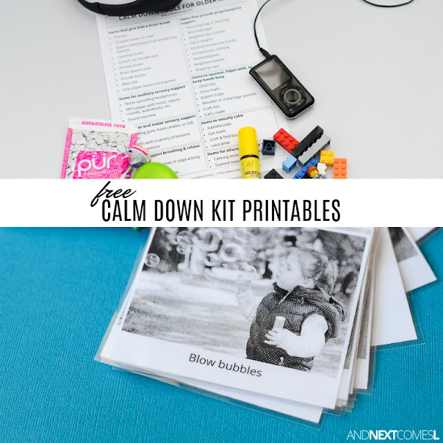 Free printable calming strategies resources to help you put together a calm down kit for kids from And Next Comes L