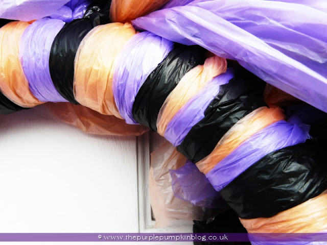 Trash Bag Halloween Wreath {Crafty October} at The Purple Pumpkin Blog