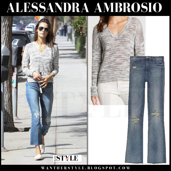 Alessandra Ambrosio in grey sweater and flared ripped jeans what she wore models off duty