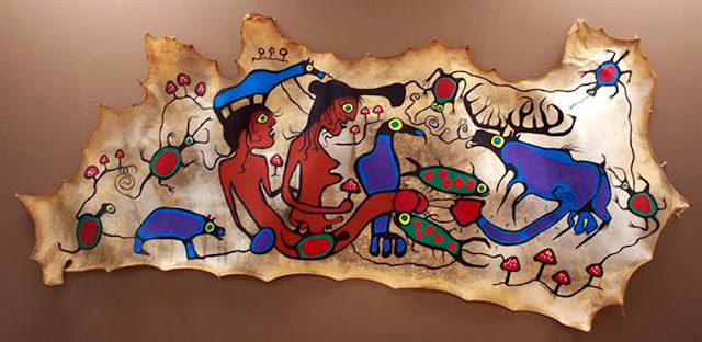 Norval Morrisseau Erotic Medicine Man and Moose.