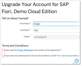 Upgrade account to SAP Fiori Demo