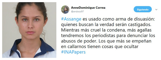 Anne.Dominique Correa defiende a Julian Assange