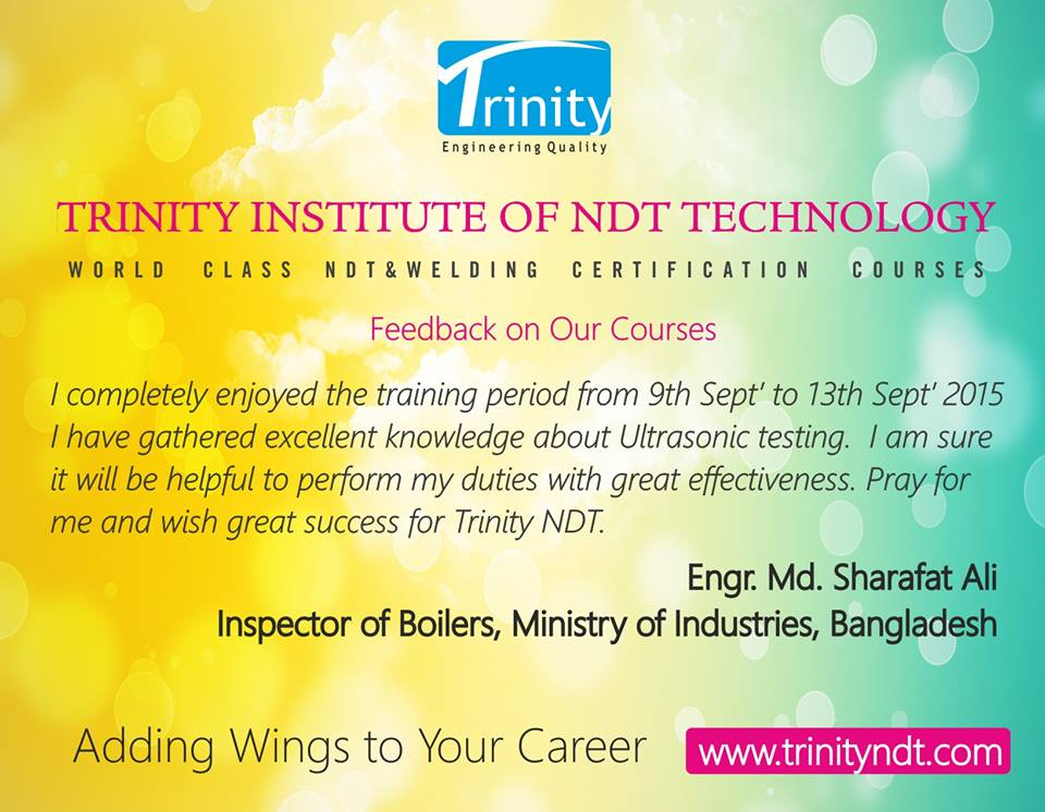 Appreciation for Trinity NDT Courses by Bangladeshi Delegate