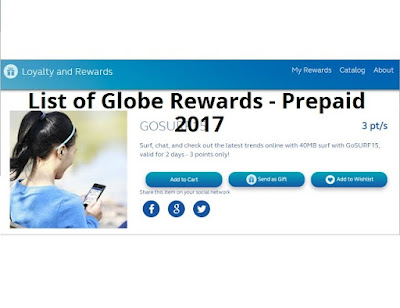 List of Globe Rewards - Prepaid, Item Codes That You Can Redeem Using Your Points Earned 2017