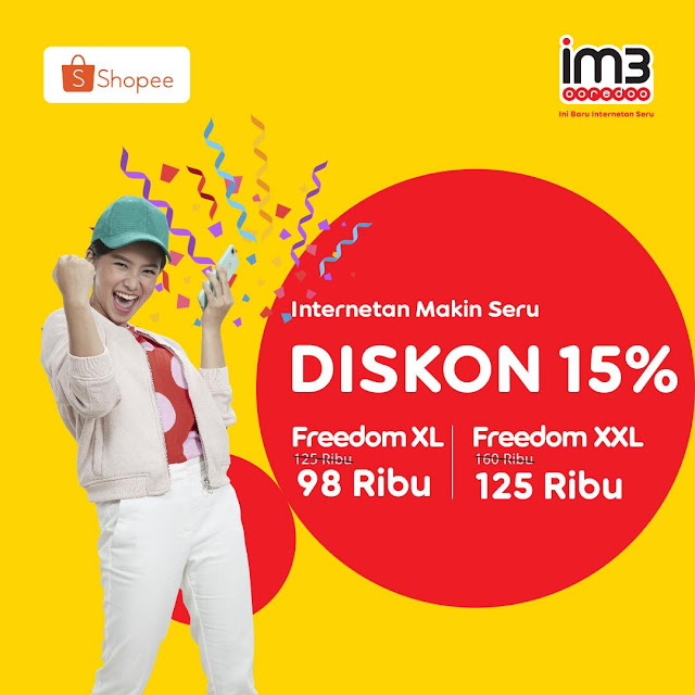 #Indosat - #Promo Diskon 15% Paket Data Freedom XL & XXL di Shopee (s.d 30 April 2019)