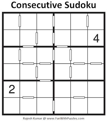 Consecutive Sudoku Puzzle (Mini Sudoku Series #105)