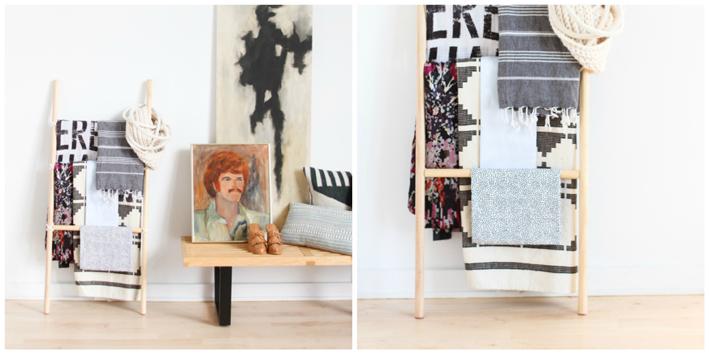 DIY-hacer-escalera-decorativa-mantas