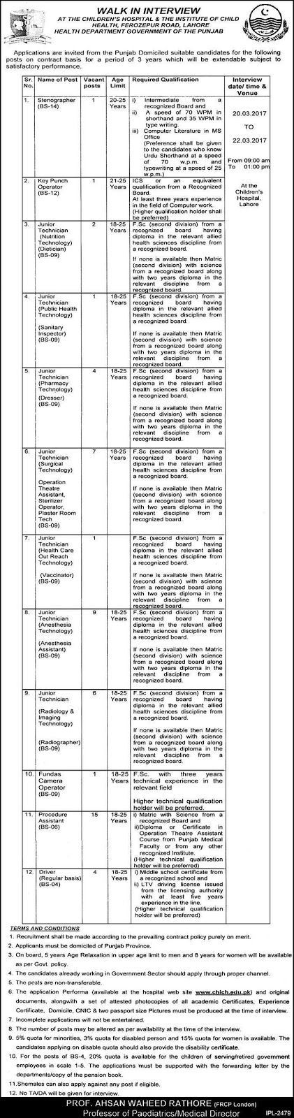 Children's Hospital and Institute of Child Health Jobs March 2017