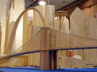 Edificio con palillos para dientes o Picadientes de madera