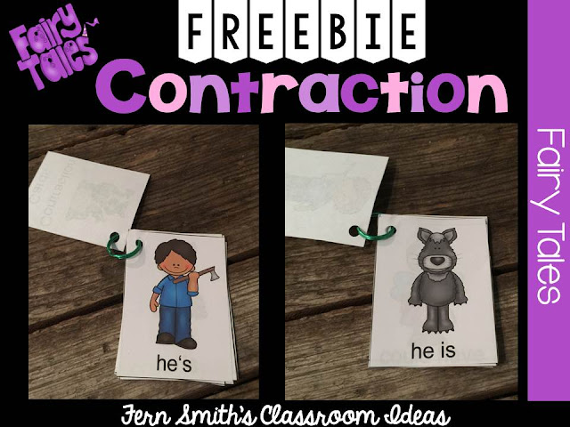 Fern's Freebie Friday ~ Fairy Tale Themed Contraction Center Game Card Sampler at TeachersPayTeachers.