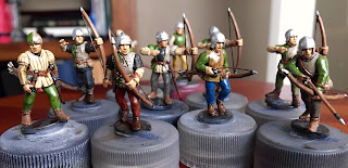 Perry Wars of the Roses plastic archers Speed painting SquadPainter 28mm Bloody Barons wired bows Army Painter Quickshade Strong Tone Post-dip ready for highlights