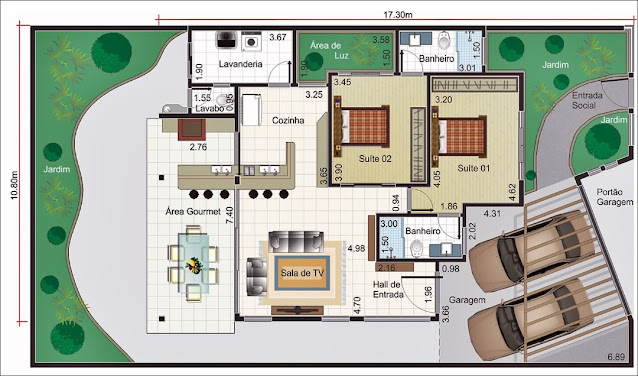 Planta casa Moderna área gourmet