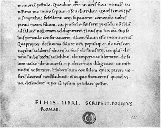 Part of one of Cicero's Catiline Orations copied by Bracciolini  in a style of writing that became the basis for Roman fonts