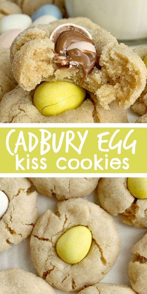 Cadbury Egg Kiss Cookies