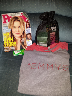 Swag given to bleacher seat attendees at the Emmy Awards 2016