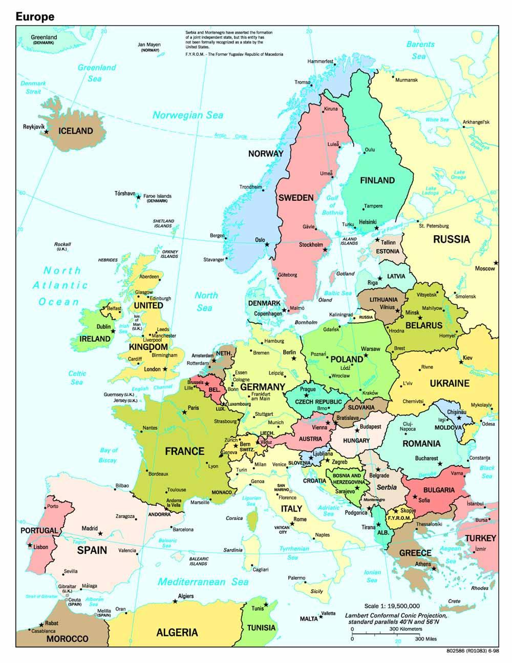 Europe Capital Cities Map - World map with countries and capitals only