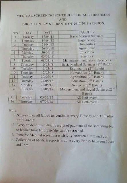 FUNAI Medical Screening Time-Table Schedule