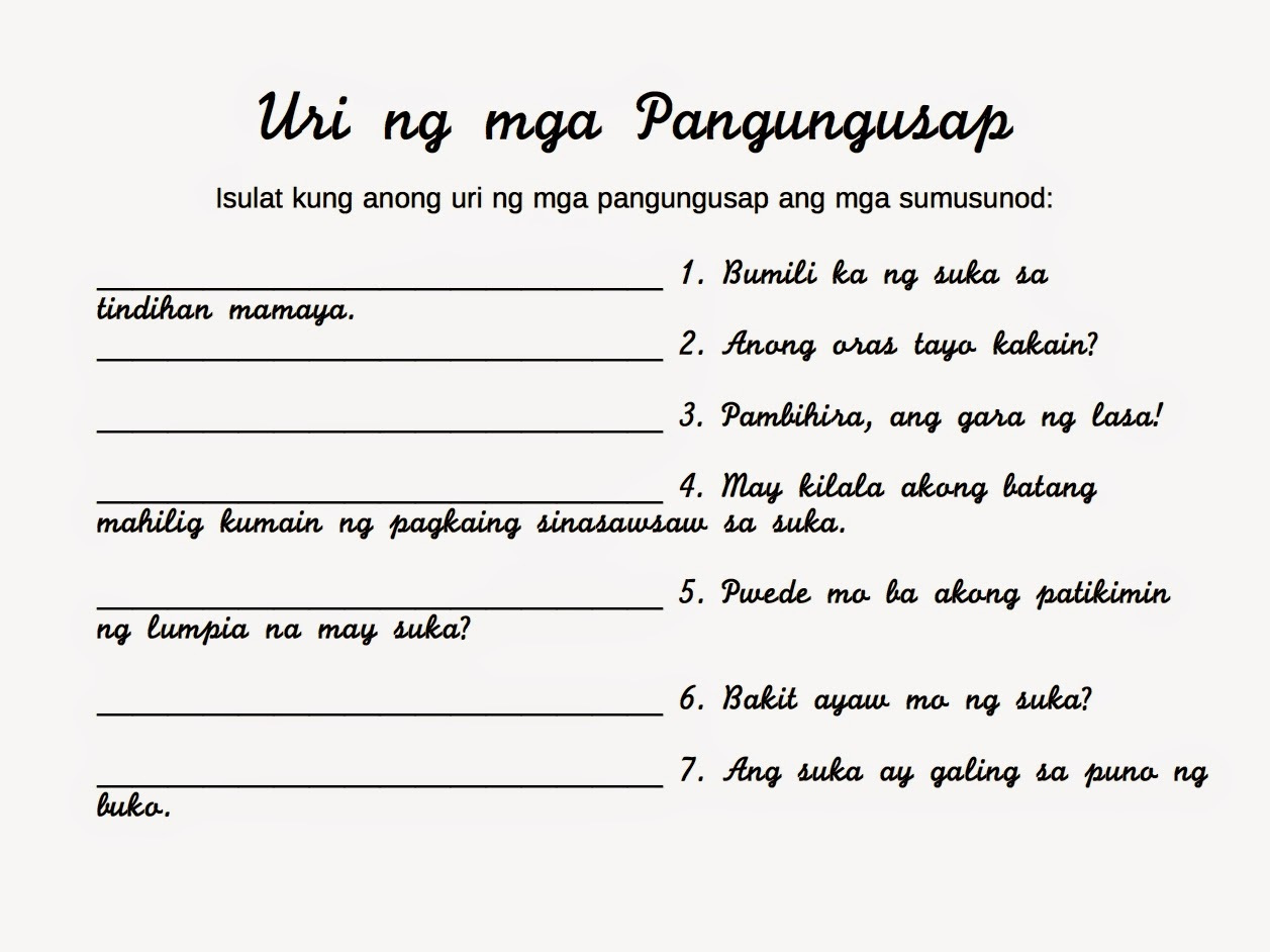 Worksheet Kayarian Ng Pangngalan