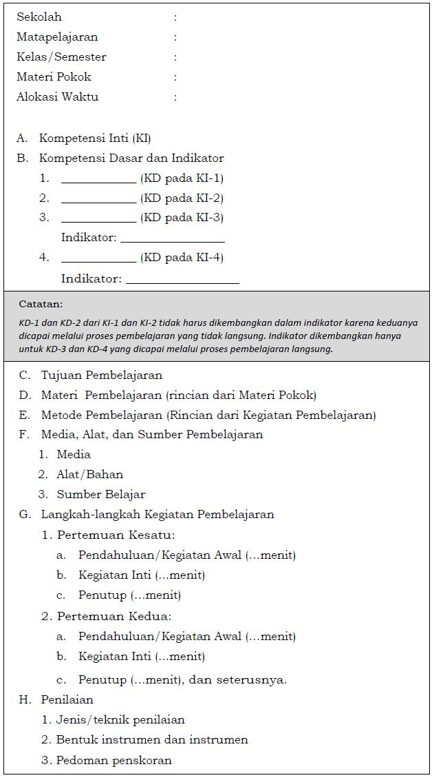 Format RPP Kurikulum 2013 Berdasarkan Permendikbud 81A