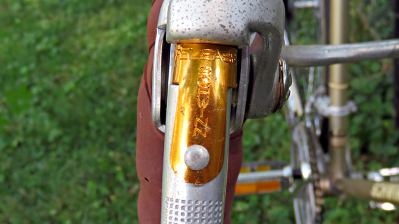 Close-up view of quick release brakes on a bicycle
