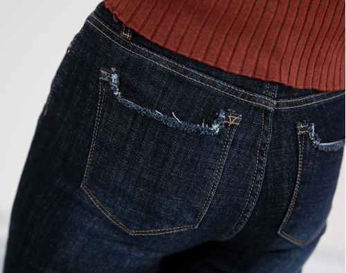 Whisker Washed Raw Pocket Jeans