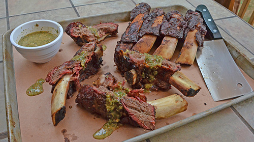 recipe for Smoked Beef Back Ribs with Chimichurri Sauce