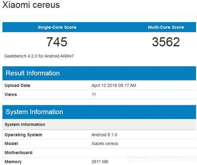 "Xiaomi ""cereus"" with 12 nm MT6765 chip appears on Geekbench"