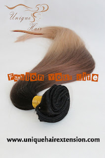 Brazilian virgin clip on hair ombre color