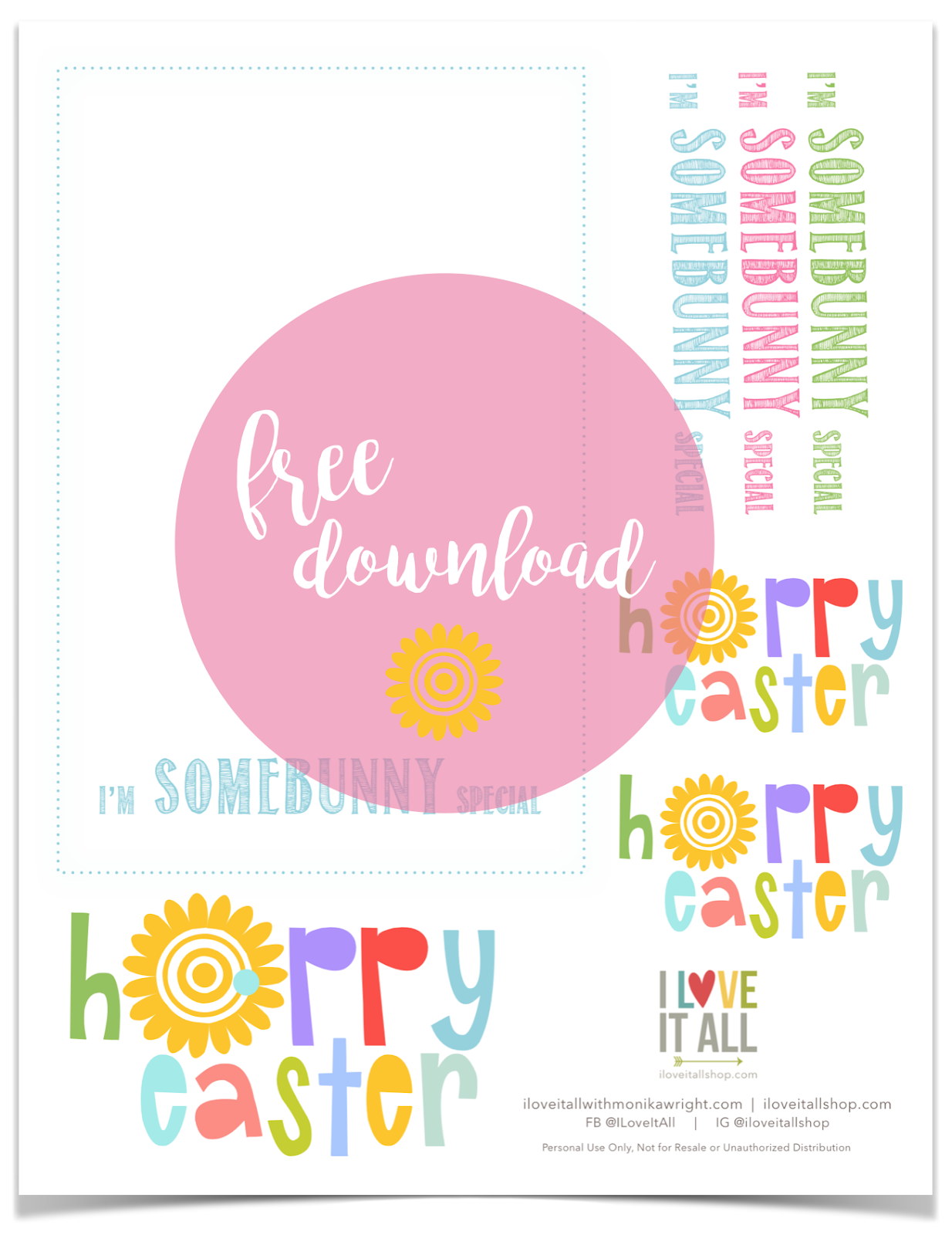 #bunny #iron on download #I'm Somebunny Special #free #printable #t-shirt