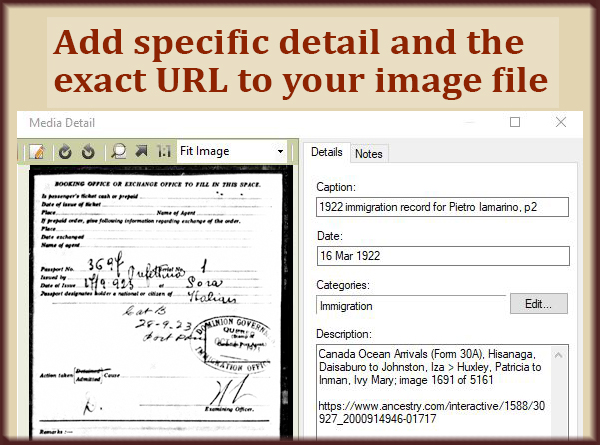 Link to your general source, but pack all the specifics into the document image.