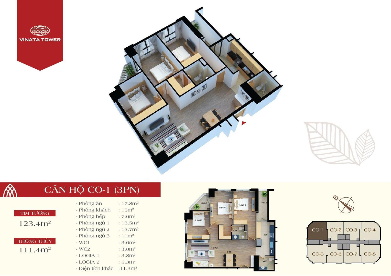 Thiết kế chi tiết căn hộ C0-01 DT 111,4m2 - 3PN, 2VS