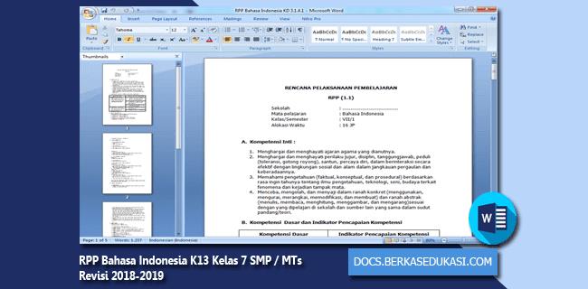 RPP Bahasa Indonesia K13 Kelas 7 SMP MTs Revisi 2018-2019