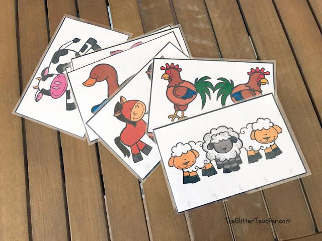 Puzzle de vocabulario clave los animales de la granja para recortar, colorear y leer en el aula de inglés de educación infantil y educación primaria