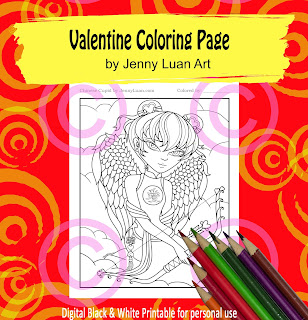 Anime Chinese Cupid coloring page