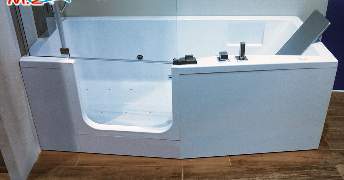 Vasca con sportello ad apertura laterale con chiusura a vetro per doccia  M.2 Trasformazione ...