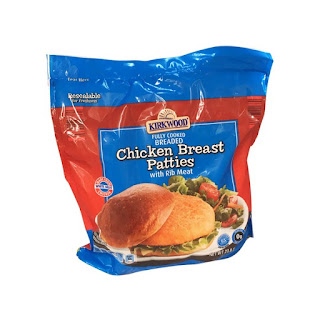 A stock image of Kirkwood Breaded Chicken Breast Patties, from Aldi
