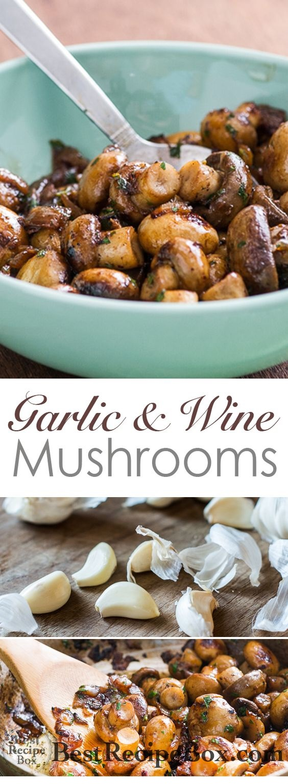 Sautéed Button Mushrooms In White Wine Sauce