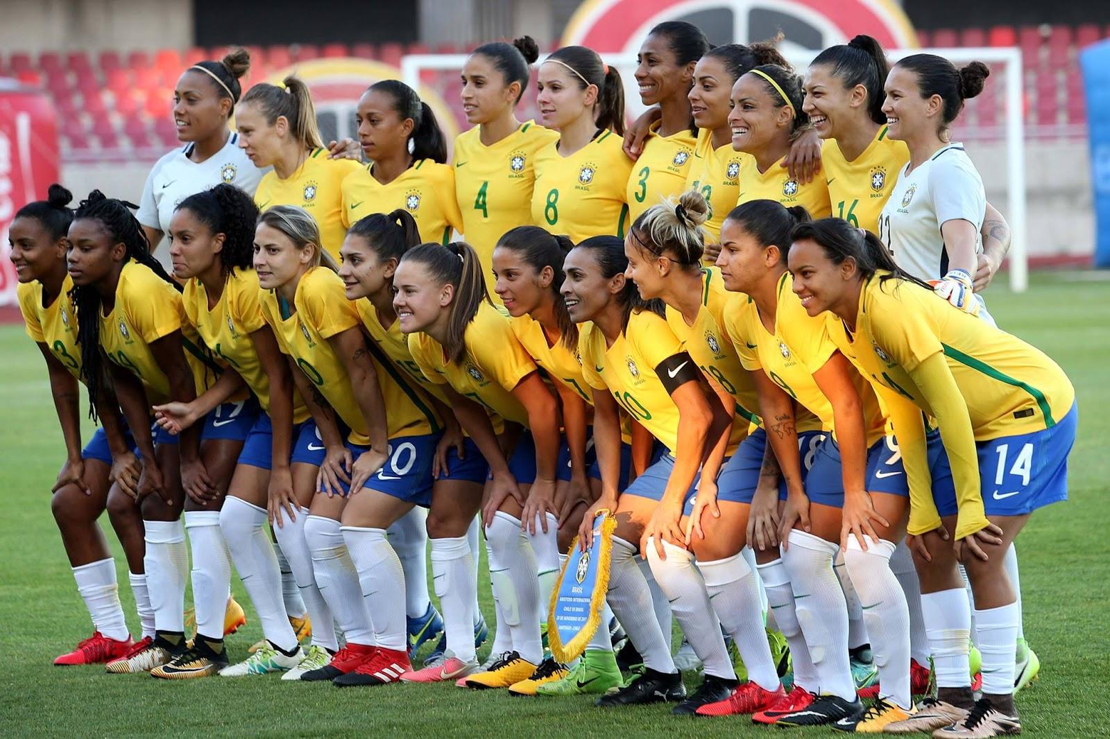 Titulares y suplentes de selección femenina de Brasil ante Chile, amistoso disputado el 28 de noviembre de 2017