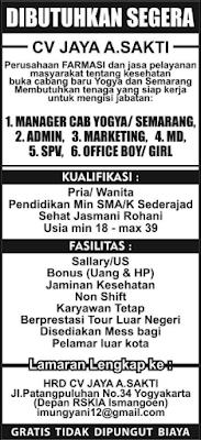 Tantangan Kerja di CV. JAYA A. SAKTI Yogyakarta Terbaru Maret 2018