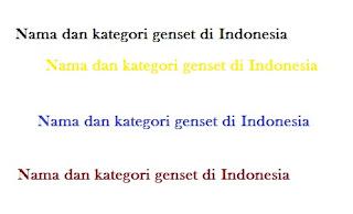 Berikut ini Nama Genset di Indonesia