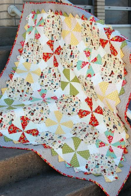 Prairie Pinwheel Baby Quilt Free Pattern