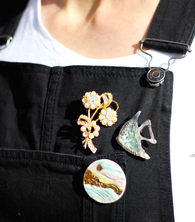 Fake Fabulous | Wearing dungarees, over 40. Vintage brooches
