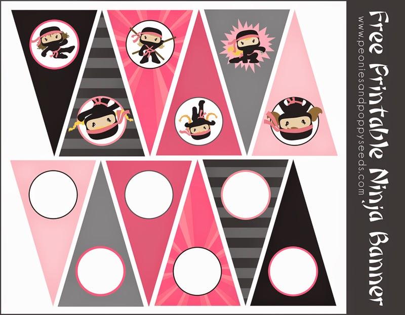 Banderines para Fiesta Ninja de Niñas, para Imprimir ...